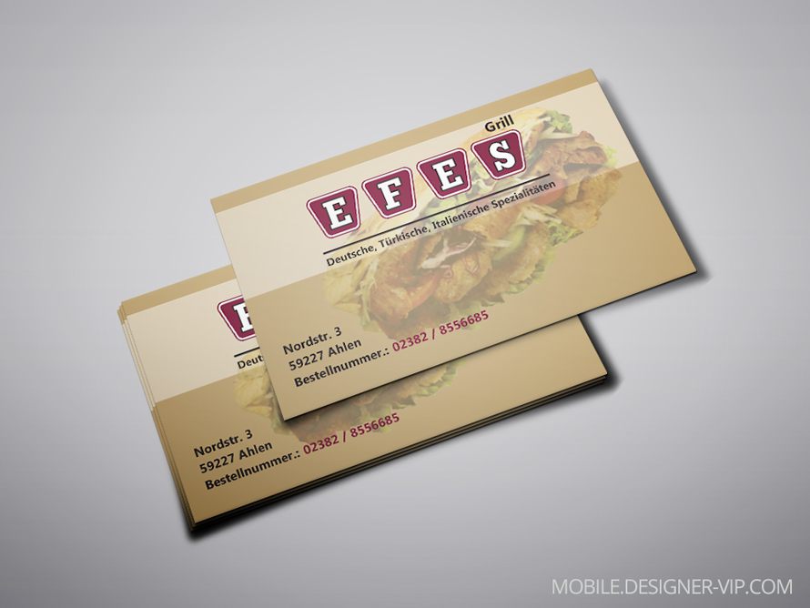 Business card design EFES Grill