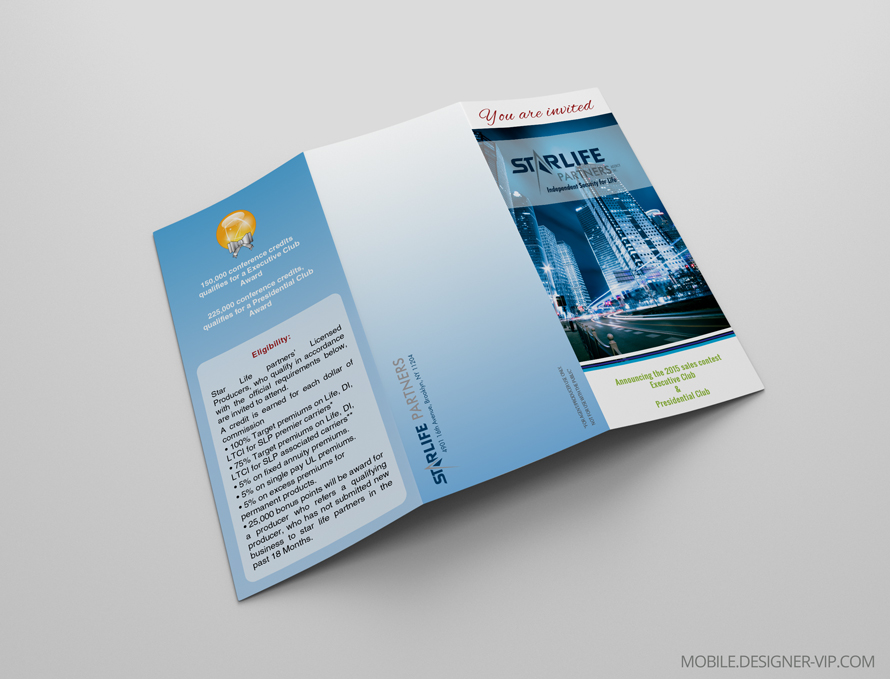 Insurance brochure design Starlife face page