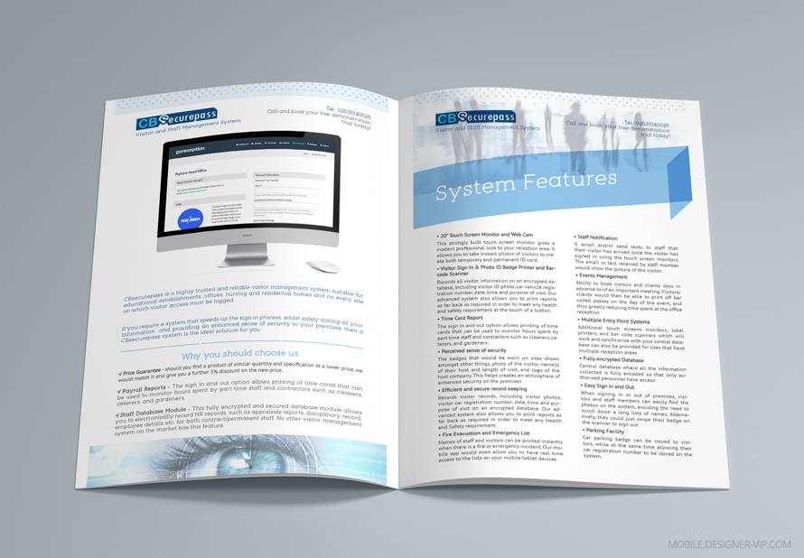 Product brochure design pages
