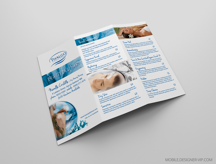 Spa brochure design Beauty Marine face page