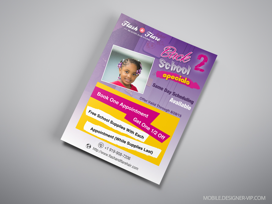 Beauty salon flyer design Flash&Flare 1 version