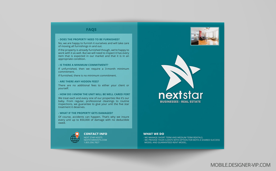 Bi fold brochure design in Real Estate face page
