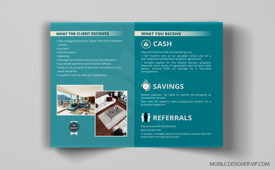 Bi fold brochure design in Real Estate back page