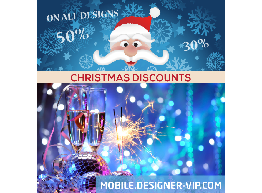 Christmas banner design Discounts blue version