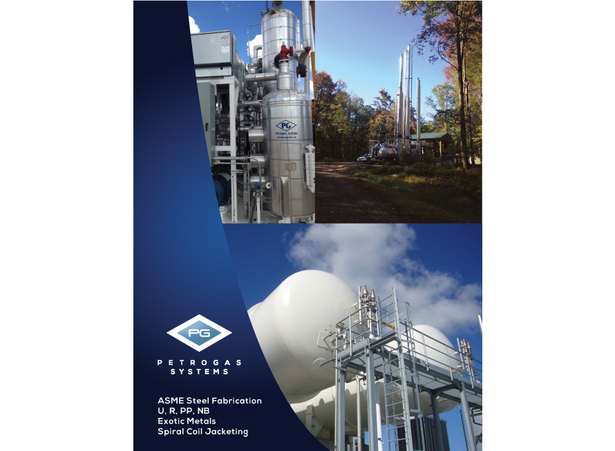 Industrial brochure design Petrogas Systems base cover page
