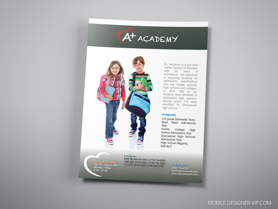 Magazine ad design A plus Academy