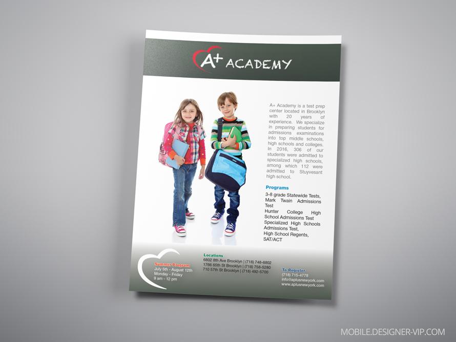Magazine ad design A plus Academy