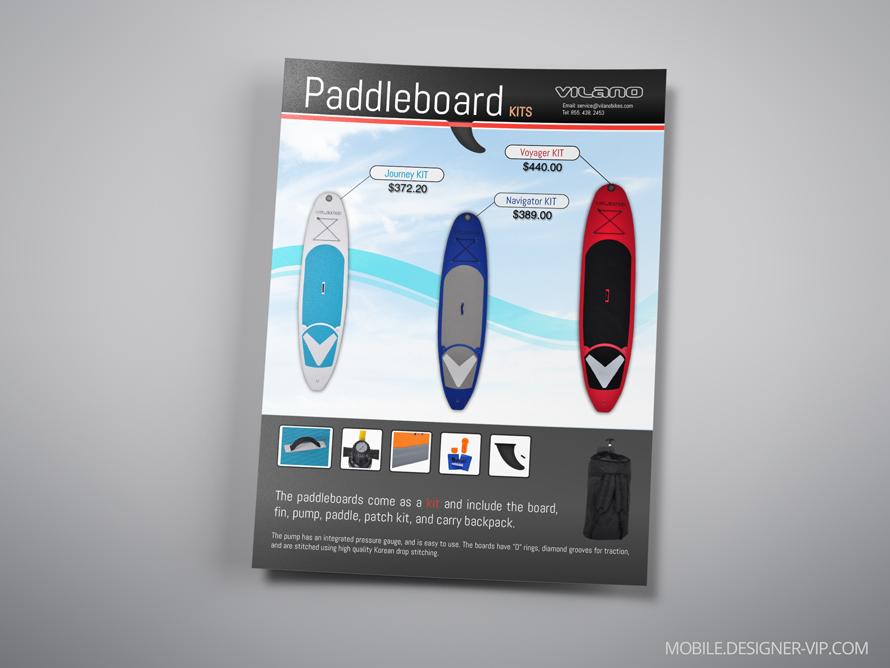 Surfboard brochure Vilano face page