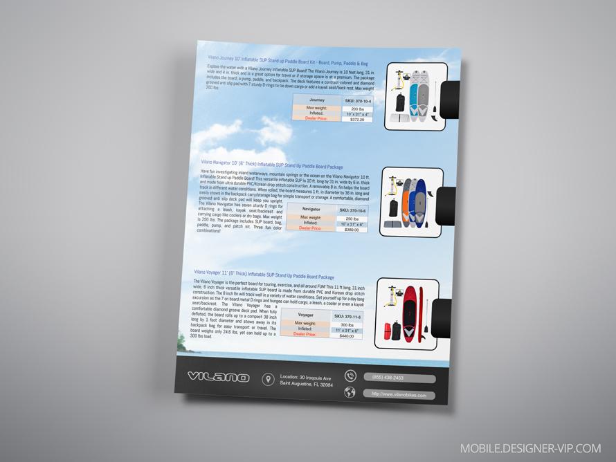 Surfboard brochure design Vilano back page