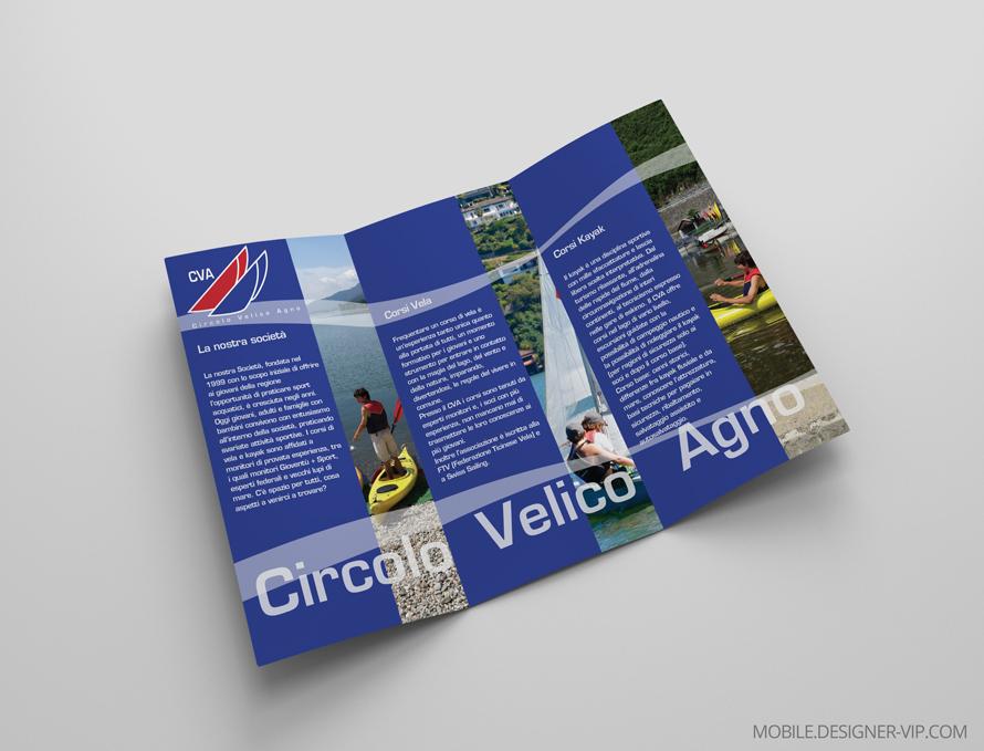 Tri fold brochure design Circolo Velico Agno back page