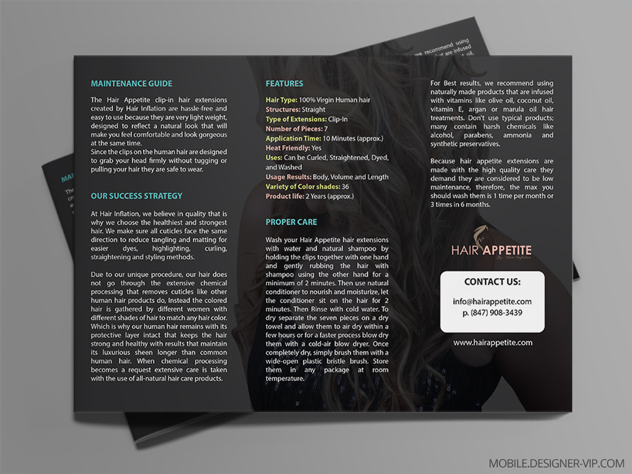 Hair Salon Brochure Care & Maintenance |