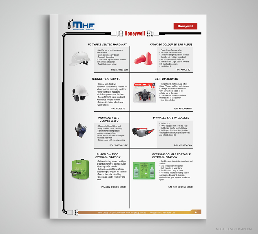 Honeywell goods Industrial catalog design MHF page 6