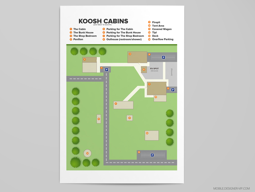 Property site plan Cabins