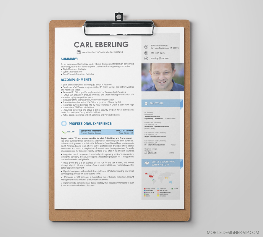 Professional resume design main page