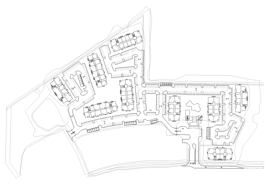 Site plan drawing - clubhouse, units, garage
