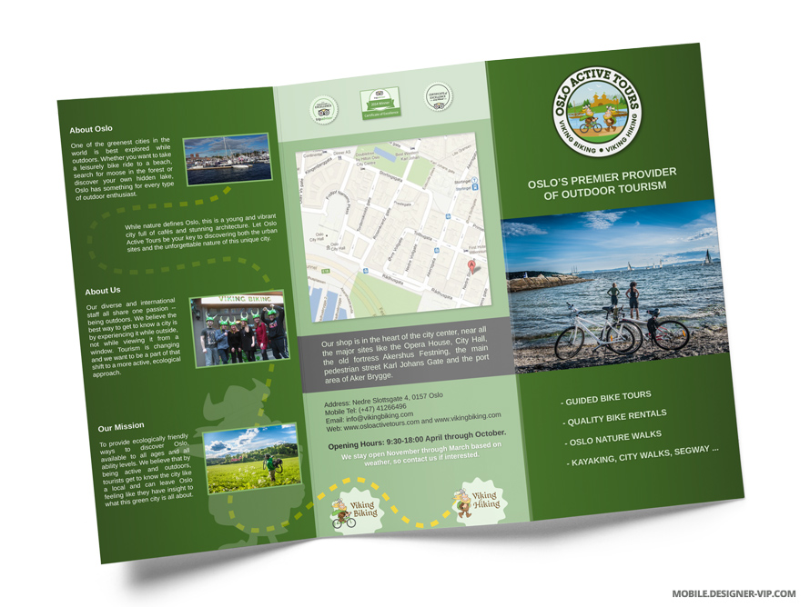 Travel brochure design Oslo Active Tours face page