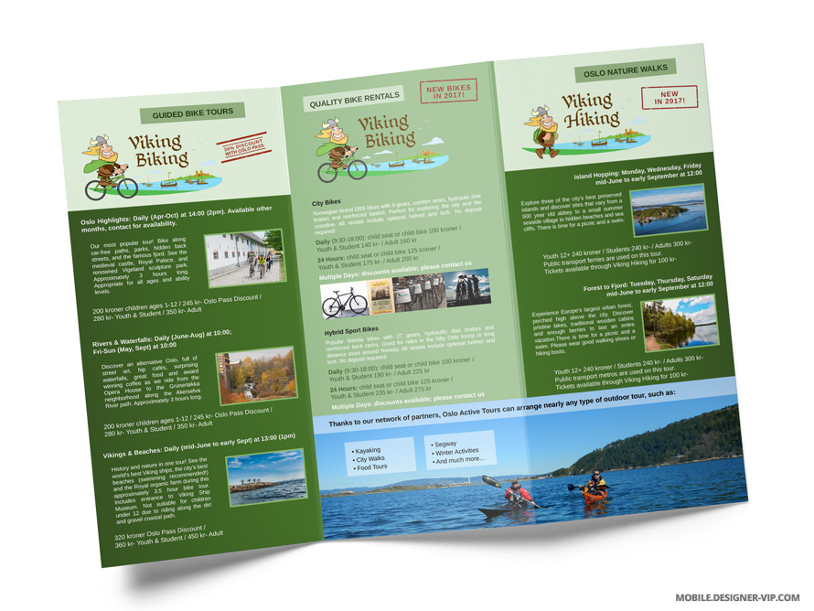 Travel brochure design Oslo Active Tours inner page